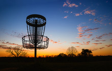 Silhouette Of Disc Golf Basket...