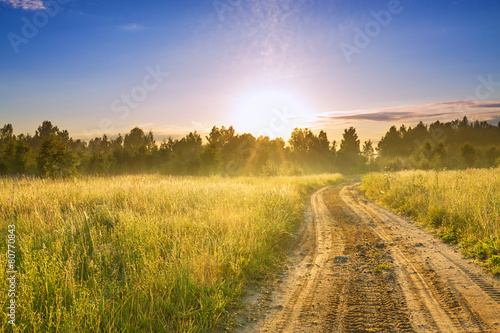 Canvas Prints Honey the rural landscape with sunrise and the road