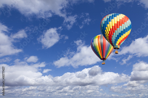 Fotografie, Obraz  Hot Air Balloons In The Beautiful Blue Sky