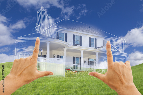 Fotografie, Obraz  Female Hands Framing House Drawing and House Above Grass
