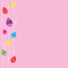 Pink Card Easter Eggs With White Line Doodle And Space For Text