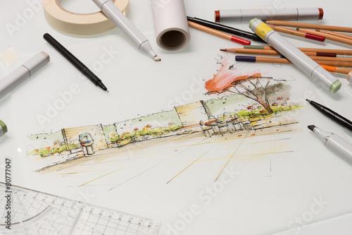 Fotografie, Obraz  Gartenplanung Ansichtsskizze