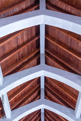 Wood Plank Roof with Stone Arhces Wallpaper Mural