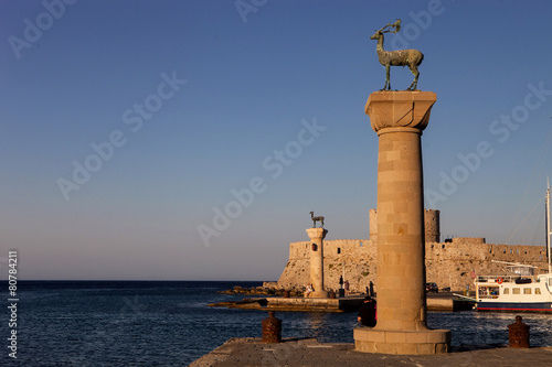 entrance to the harbor of Rhodes, Greece,