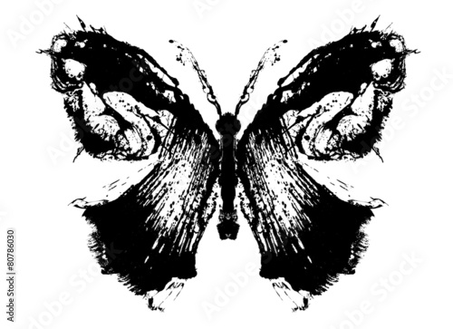 Poster Butterflies in Grunge Abstract butterfly