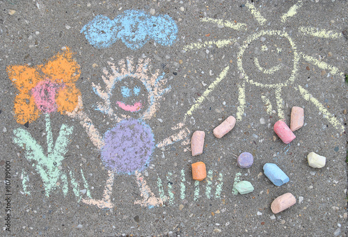 sidewalk spring chalk painting with sun, flower and doll Canvas Print