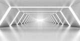 Fototapeta Perspektywa 3d - Abstract illuminated empty white corridor interior