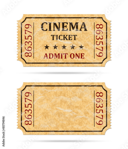 Retro cinema ticket and empty ticket - Buy this stock vector and ...