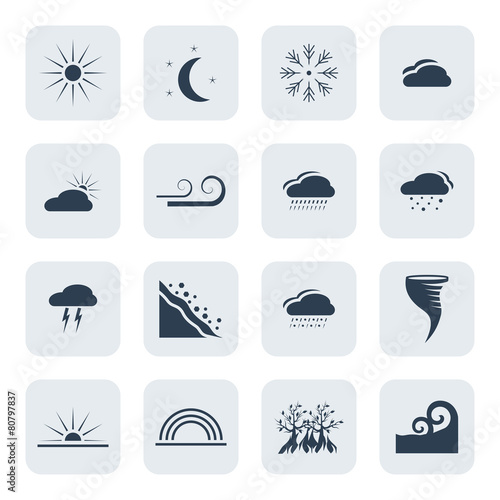 Fotografie, Obraz  Weather and climate vector icon set