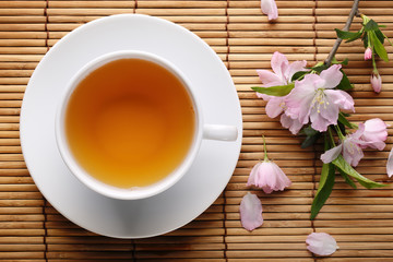 Panel Szklany Podświetlane Do herbaciarni Herbal tea on bamboo straws