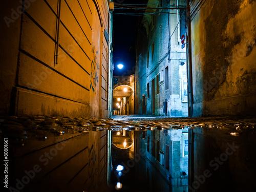 Dark Alley at Night Canvas Print