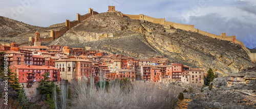 Albarracin panorama-medieval terracotte village in Aragon,Spain