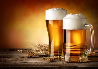 Fototapeta Two mugs of beer