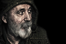 Very Old Homeless Senior Man P...