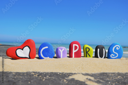Fotobehang Cyprus Cyprus, souvenir on colored stone letters
