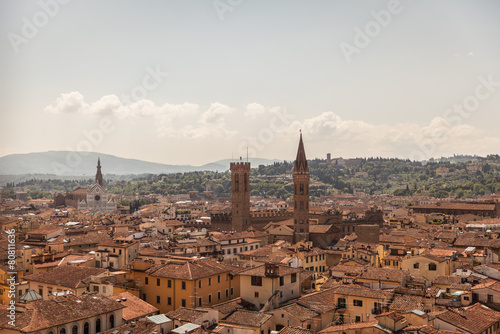 Aerial panorama of Florence Duomo dome and rooftops. Tuscany Ita - 80811636