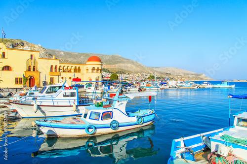 Fototapeta A view of a port in Kalymnos island, Greece obraz na płótnie