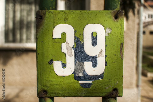 Poster Weathered enameled plate number 39
