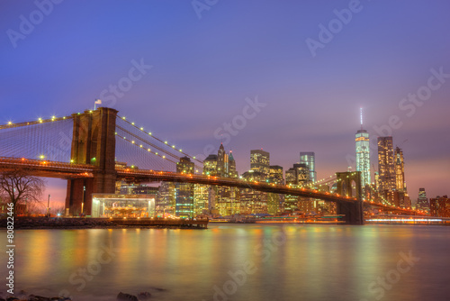 Printed kitchen splashbacks Brooklyn Bridge Brooklyn bridge at dusk, New York City.