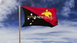 Papua New Guinea flag with title waving in the wind. Looping sun