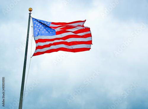 Fotografia  US Flag in the Liberty Park 9/11 memorial
