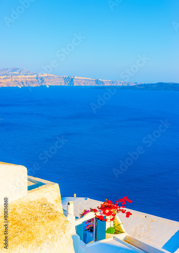 Foto op Aluminium Santorini View from a terrace in Oia in Santorini island in Greece