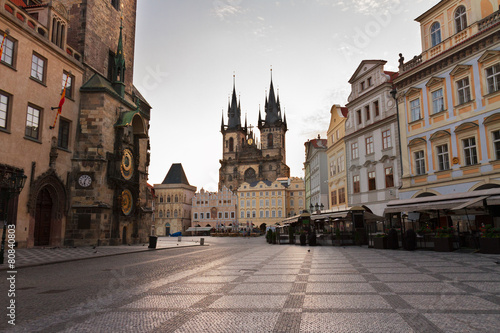 Fotobehang Praag Old town square with city hall of Prague