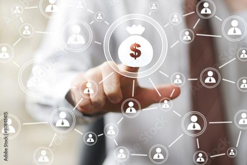 Fotografia, Obraz  Businessman pushing button web with dollar sign virtual.