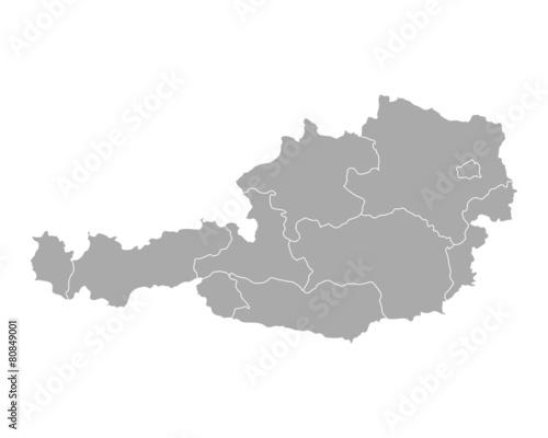 Fotografie, Obraz  Karte von Österreich