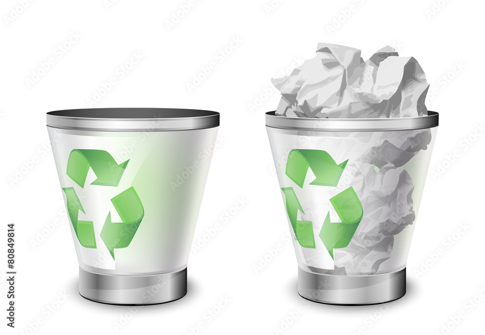 Fototapeta Trash bins, full and empty. Vector illustration
