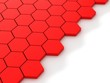Leinwanddruck Bild - red background with hexagons and place