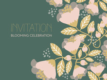 Invitation Card With Pink Blooming Flowers On Green Background.