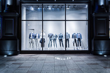 Fashion Shop Display Window And Clothes.