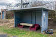 bus stop in the village with furniture