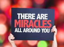 There Are Miracles All Around You Card With Bokeh Background