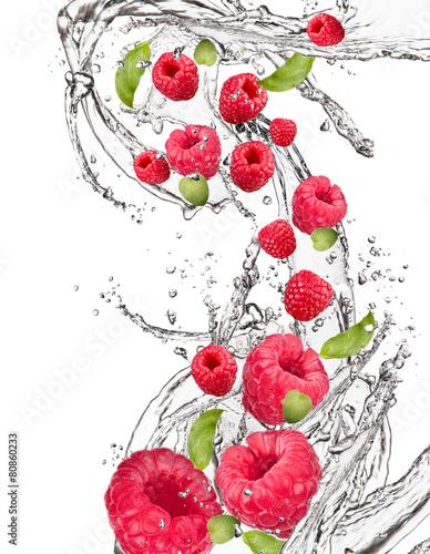 Poster Dans la glace Water splash with fruits, Fresh fruits falling, motion