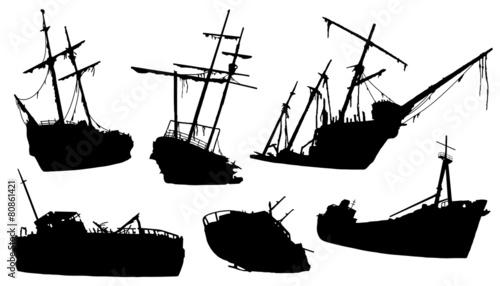 shipwreck silhouettes Canvas Print