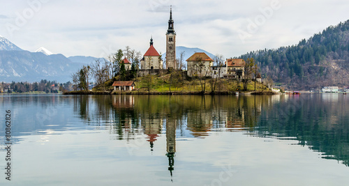 Church on Bled with own reflection