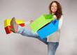 canvas print picture - Frau hat Spass am Kaufrausch