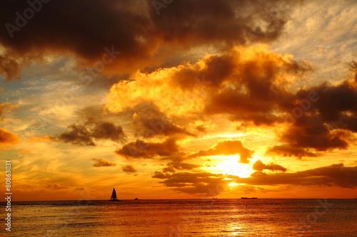 ワイキキ海岸の夕焼け