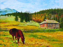 Mountain Landscape, Horse Near...