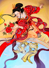 Japanese Geisha Woman In Red K...
