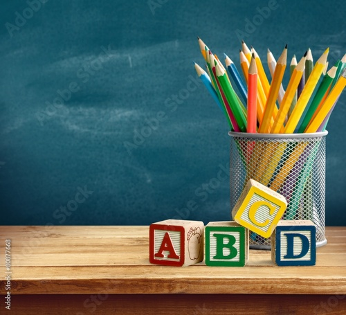 Abc. Yellow pencils and abc blocks for back to school Canvas Print