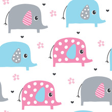 Seamless Cute Elephant Pattern...
