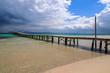 Wooden pier on Alcudia beach, Majorca island, Spain