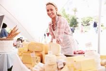 Woman Selling Fresh Cheese At ...