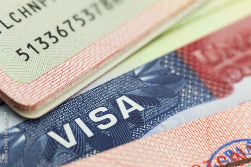 Fotografie, Tablou  USA visa in a passport background
