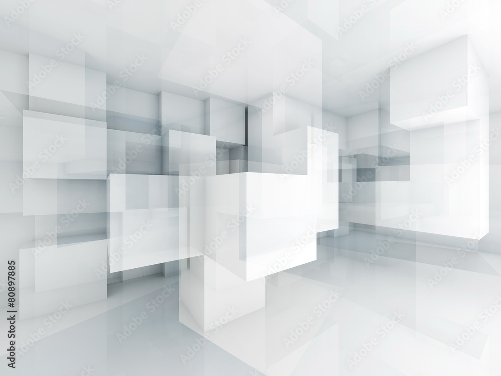 Fototapety, obrazy: Abstract 3d architecture background with chaotic cubes