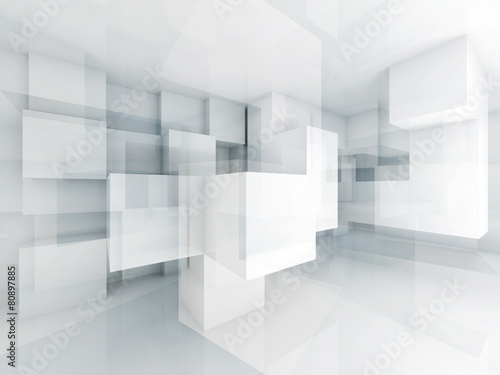 Fototapeta Abstract 3d architecture background with chaotic cubes obraz