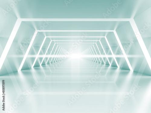 fototapeta na ścianę Abstract illuminated empty light blue shining corridor interior